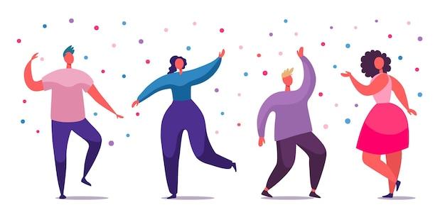 Pessoas felizes do escritório dançando na ilustração da festa da empresa