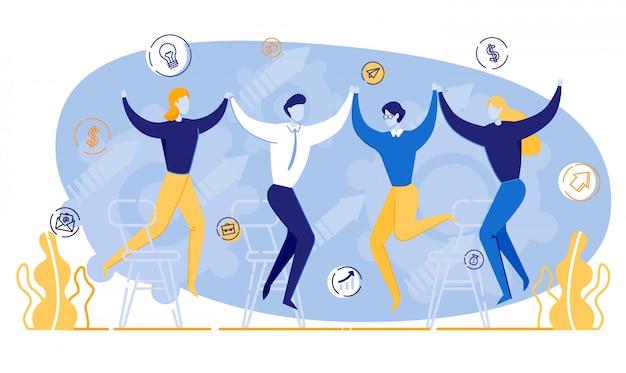 Pessoas felizes dos desenhos animados mãos dadas reunião negócios