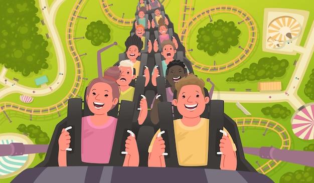 Pessoas felizes e animadas andam em uma montanha-russa parque de diversões com atrações