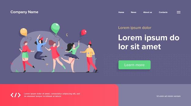 Pessoas felizes e animadas dançando no modelo da web da festa. grupo alegre de amigos se divertindo juntos. conceito de entretenimento e celebração