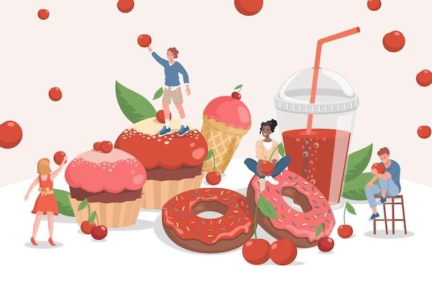 Pessoas felizes e sorridentes com deliciosos cupcakes de chocolate, donuts e refrigerantes