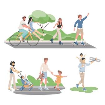 Pessoas felizes e sorridentes em roupas confortáveis, passando o verão juntos ilustração plana de vetor ao ar livre.
