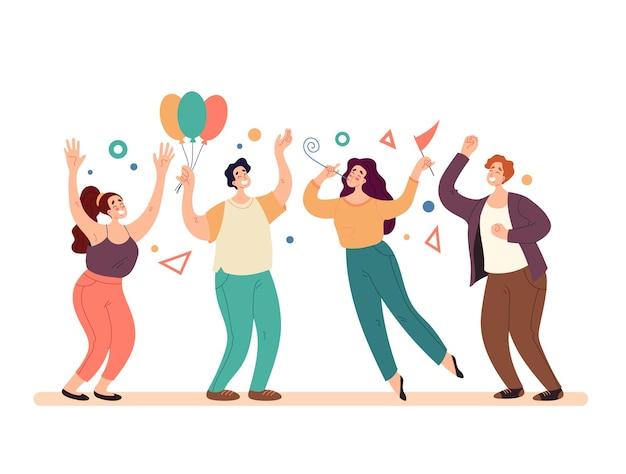 Pessoas felizes e sorridentes homem mulher personagens amigos colega comemorando feriado
