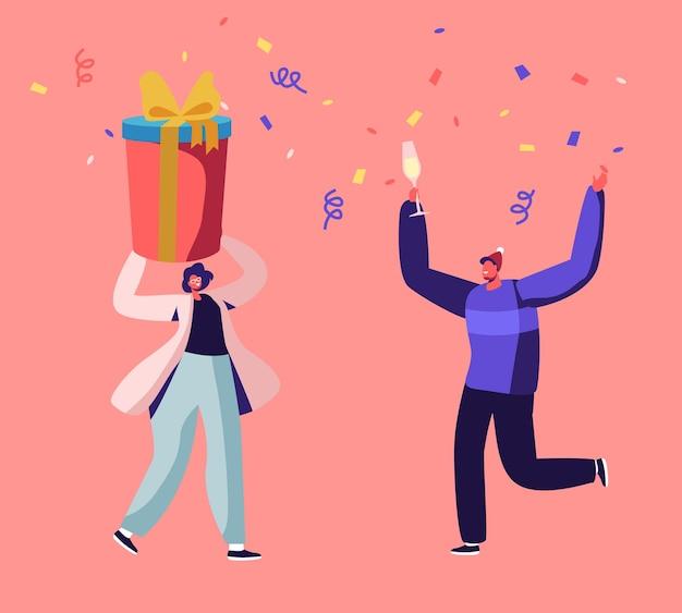 Pessoas felizes em chapéus de papai noel segurando uma caixa de presente e bebendo champanhe na celebração da festa de natal corporativa ou em casa. ilustração plana dos desenhos animados