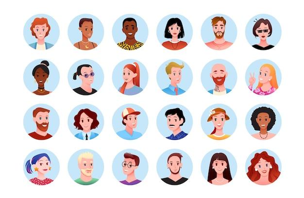 Pessoas felizes em volta do avatar do retrato para o conjunto de ilustração de mídia social.