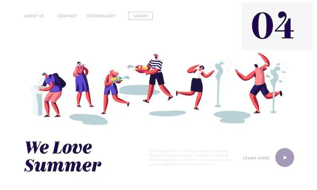 Pessoas felizes, espirrando e brincando com água no clima quente da temporada de verão. modelo de página de destino do site