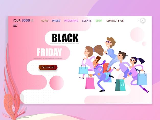 Pessoas felizes estão correndo para a venda, a black friday começou. página de destino de um site de descontos.