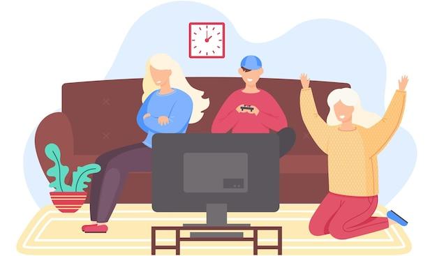 Pessoas felizes estão jogando videogame
