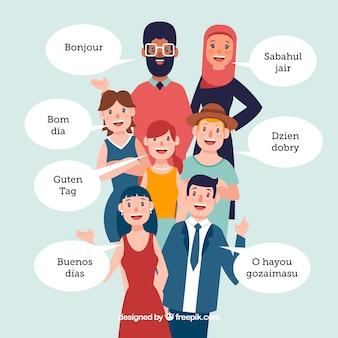 Pessoas felizes falando línguas diferentes com design plano