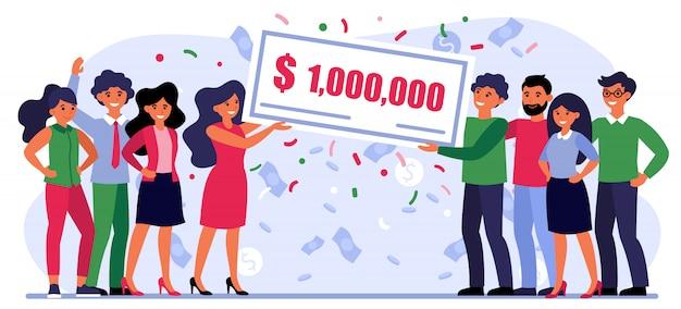 Pessoas felizes, ganhando prêmio em dinheiro