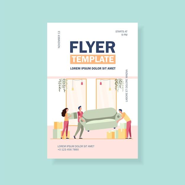 Pessoas felizes mudando para um novo modelo de panfleto doméstico