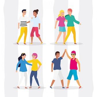 Pessoas felizes na jornada da juventude