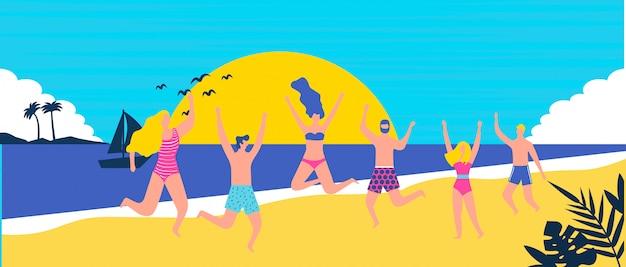 Pessoas felizes na praia se divertindo
