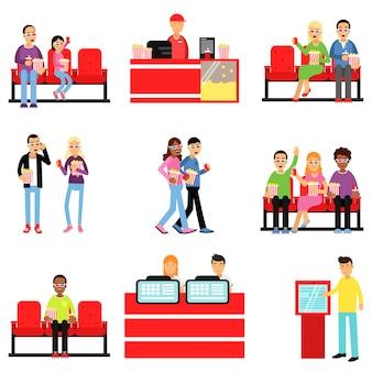 Pessoas felizes no conjunto de cinema ou cinema, homem e mulher comprando ingressos, pipoca, bebe ilustrações coloridas