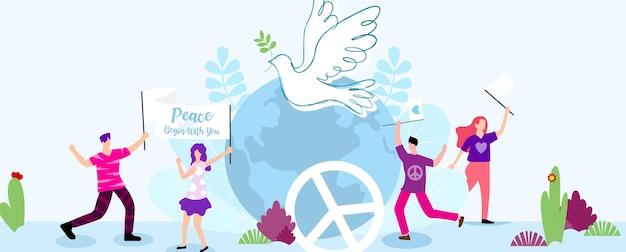 Pessoas felizes no personagem de desenho animado com o vetor da bandeira do dia mundial da paz conceito de ilustração e pombo branco no globo e fundo azul claro.