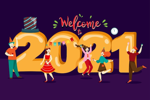 Pessoas felizes ou funcionários de escritório, funcionários marcam grande número 2021. grupo de amigos ou equipe deseja feliz natal e feliz ano novo
