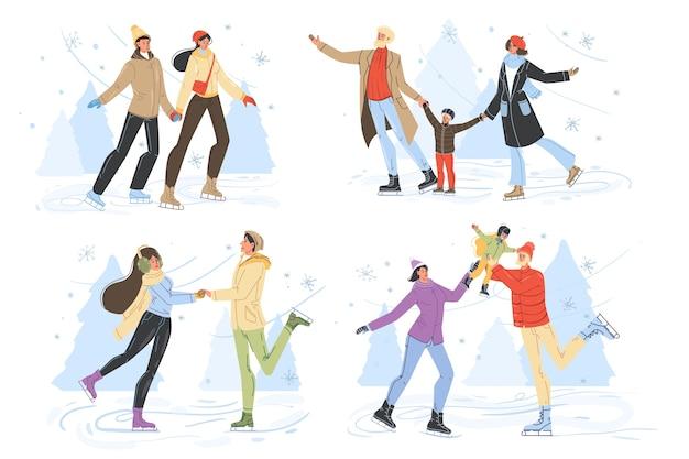 Pessoas felizes patinando no gelo na pista.