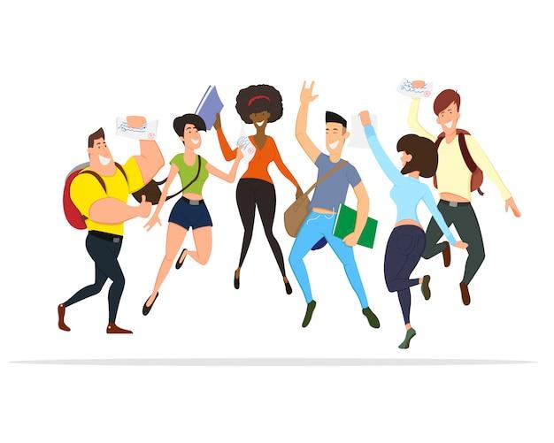 Pessoas felizes pulam. um conjunto de personagens engraçados.