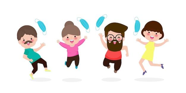 Pessoas felizes pulando e removendo a máscara médica