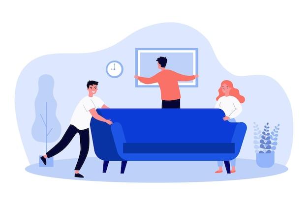 Pessoas felizes se mudando para um novo apartamento ou casa
