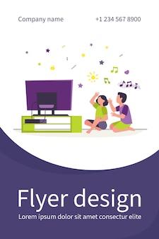 Pessoas felizes sentadas no chão e ouvindo o canal de música. tv, casa, ilustração plana de amigo. modelo de folheto