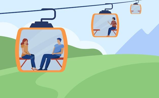 Pessoas felizes usando teleférico ou funicular