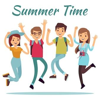 Pessoas felizes. vector plana de horário de verão com salto homens e mulheres