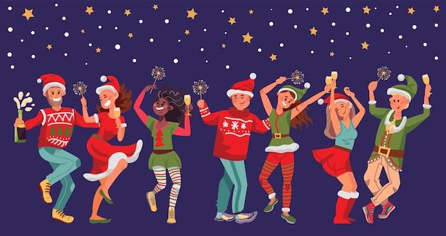 Pessoas festivas de natal. mulher divertida, jovens amigos dançam na festa de ano novo. pessoa feliz com estrelinhas de bebidas comemora o conjunto de vetores de natal. ilustração de celebração de natal, festa divertida e feliz