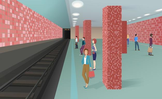 Pessoas, ficar, em, estação metrô