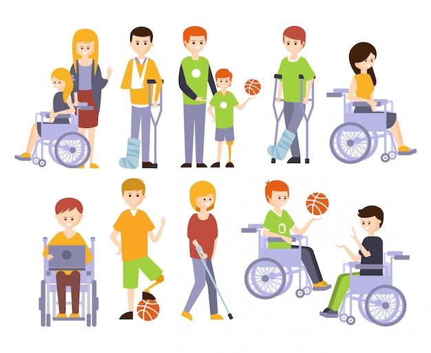 Pessoas fisicamente deficientes vivendo vida feliz com deficiência conjunto de ilustrações sorrindo deficientes homens e mulheres
