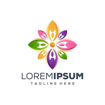 Pessoas flor ilustração em vetor design de logotipo
