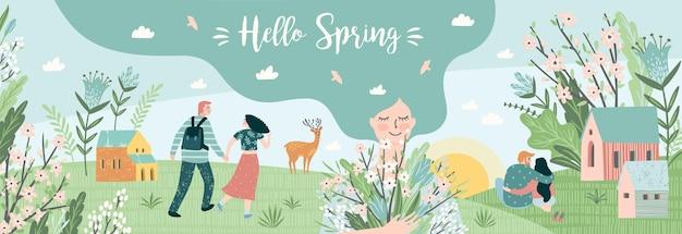 Pessoas fofas e a natureza da primavera.