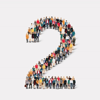 Pessoas formam o número dois. grupo de ponto de multidão formando uma forma predeterminada.