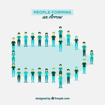 Pessoas formando uma flecha com design plano