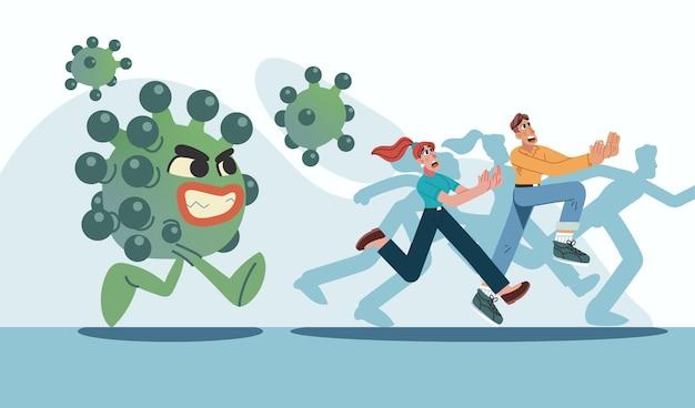 Pessoas fugindo de partículas de coronavírus