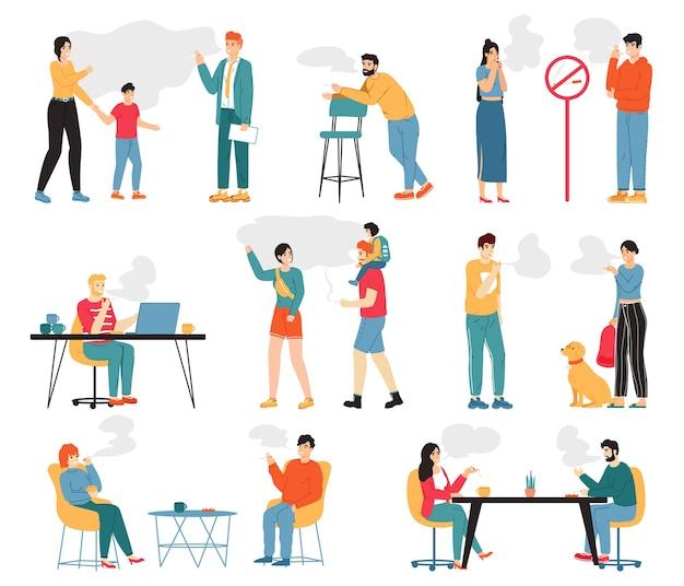 Pessoas fumantes. personagens masculinos e femininos de fumar, estilo de vida pouco saudável, maus hábitos.
