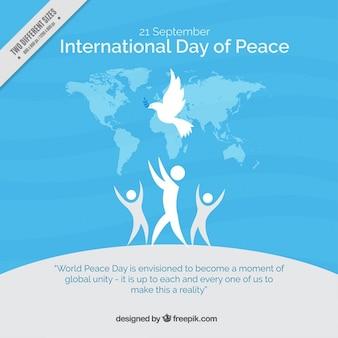 Pessoas fundo azul com o símbolo da paz