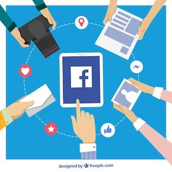 Pessoas, fundo, com, facebook, ícone, objetos