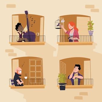 Pessoas gastando tempo com sua coleção de janelas