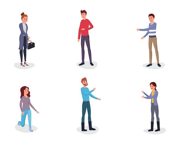 Pessoas gesticulando personagens planas definida
