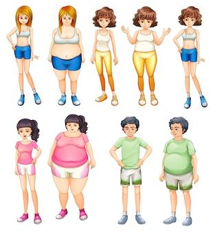 Pessoas gordas e magras