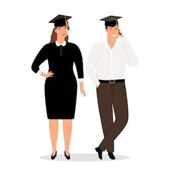 Pessoas graduadas na ilustração de roupas oficiais