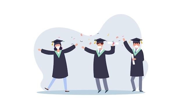 Pessoas graduadas usando máscaras médicas ilustração