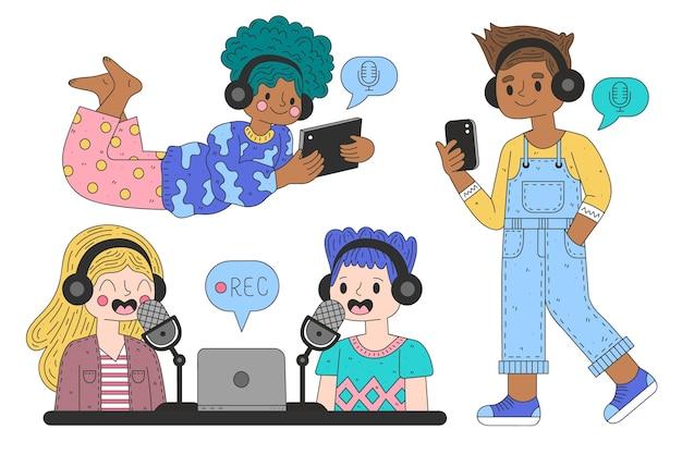 Pessoas gravando e ouvindo podcasts