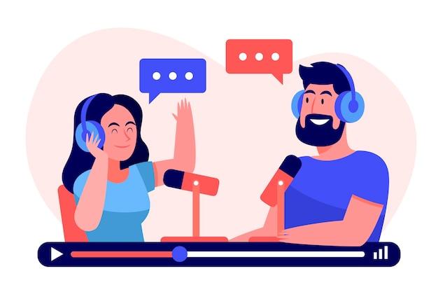 Pessoas gravando um podcast juntas