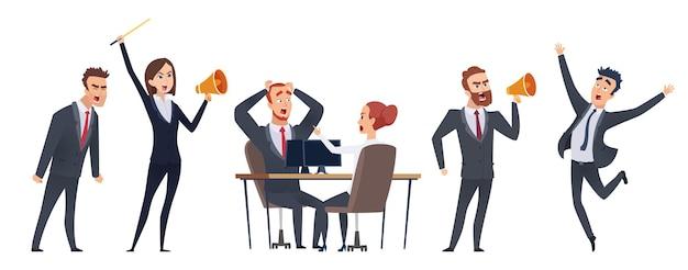 Pessoas gritando. personagens de negócios com raiva.