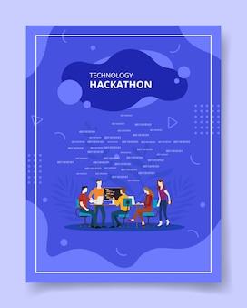 Pessoas hackathon de tecnologia sentadas na mesa de discussão