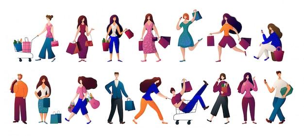 Pessoas - homem e mulher com sacolas de compras. conjunto de vetores