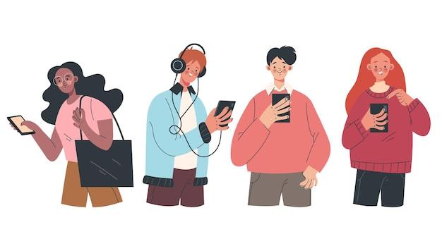 Pessoas, homem, mulher, adolescentes, personagens, usando, smartphones, dispositivos, isolado, design gráfico, conjunto