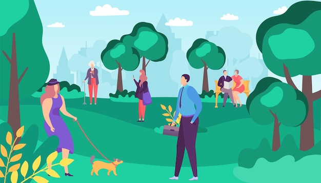 Pessoas homem mulher personagem andar no parque de verão, ilustração vetorial. estilo de vida ao ar livre na paisagem natural da cidade, plana garota feliz com cachorro. casal de pessoa senta-se no banco, mulher idosa perto da árvore.